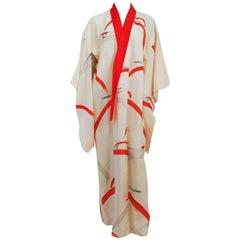 Printed White Crane Kimono w/ Red Jacquard Collar