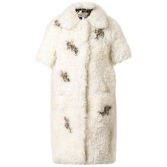 Erdem Fall 2014 Anouk Rhinestone Jeweled Shearling Runway Coat