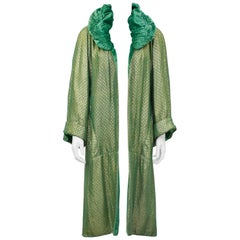 1920's Green and Gold Jacquard and Velvet Opera Coat