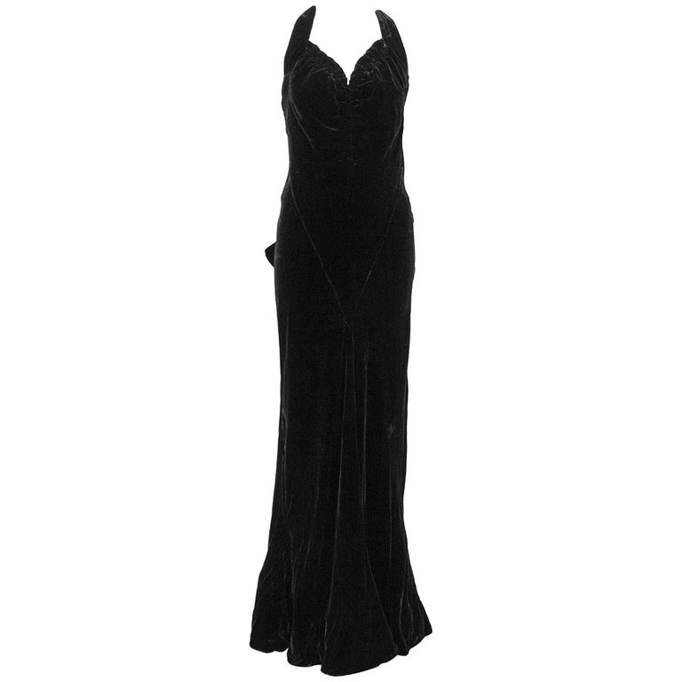 1930's Chanel Haute Couture Black Velvet Halter Gown 1