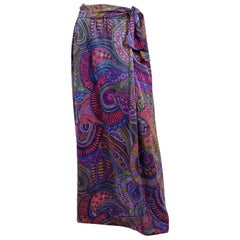 1970s Purple Metallic Psychedelic Couture Maxi Skirt