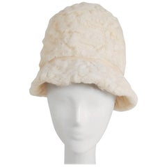 1960s White Persian Lamb Mod Cloche Hat