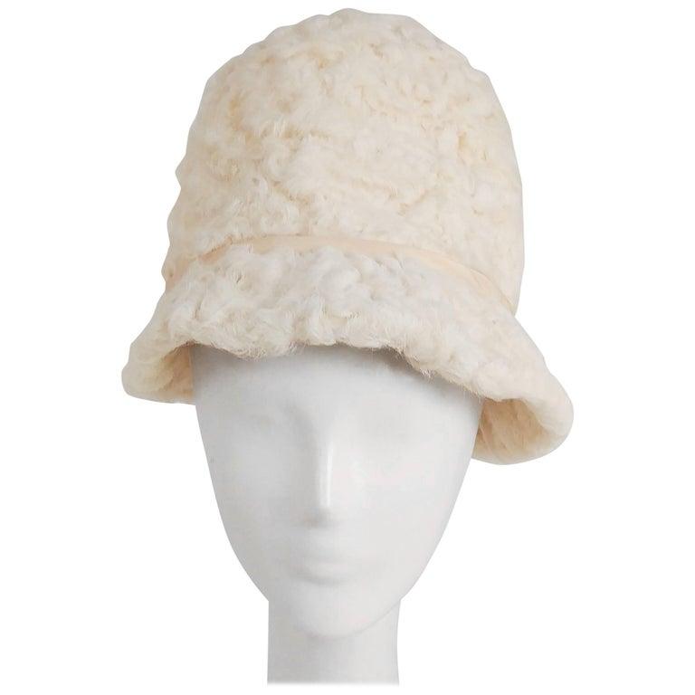 1960s White Persian Lamb Mod Cloche Hat For Sale