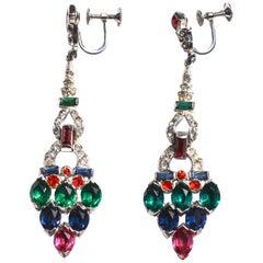 KTF Trifari Early Tutti Fruity Style Drop Earrings