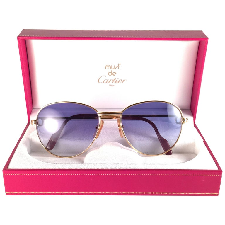 2098071193a9 Vintage Cartier Louis Diamonds 55mm Sunglasses Heavy Gold Plated 18k France  For Sale. In Excellent condition Cartier Louis Diamonds rounded ...