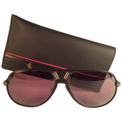 New Vintage Ferrari F30 Black & Gold Accents 1980 Made in Italy Sunglasses