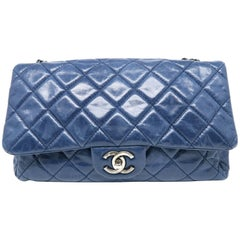 Chanel Blue Quilting Calfskin Leather Silver Metal Chain Shoulder Bag
