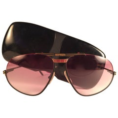New Vintage Ferrari Black & Red Accents 1980 Made in Italy Sunglasses
