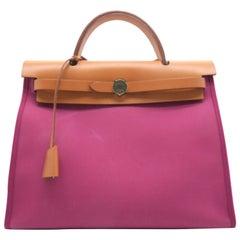 Hermes Herbag Zip PM Fuchsia / Tosca Canvas Satchel Bag