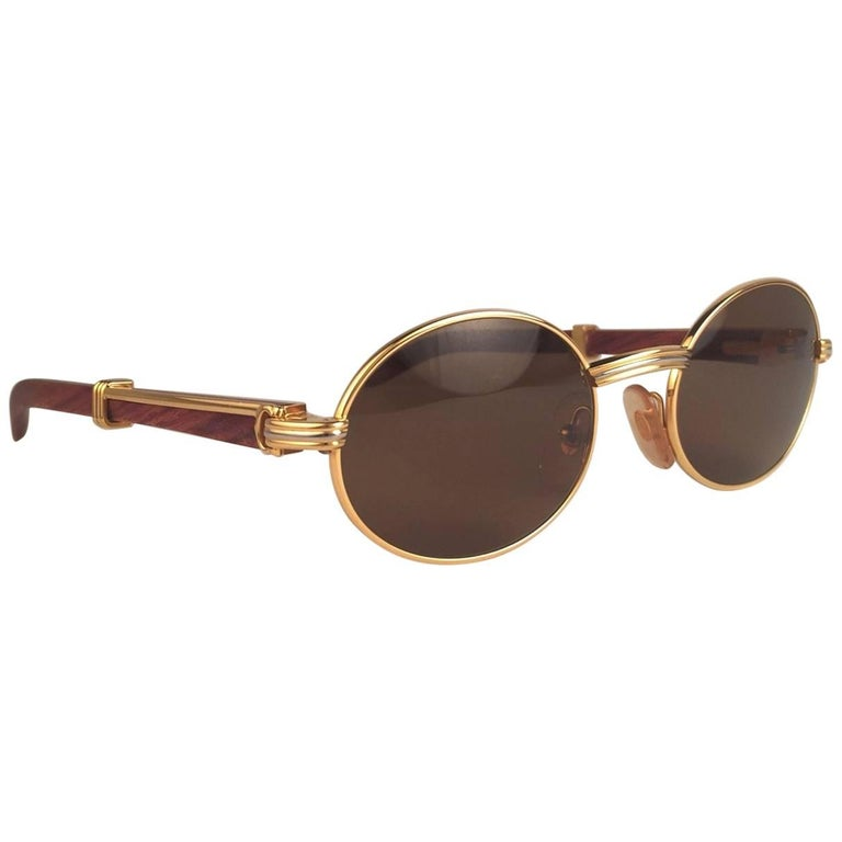 New Cartier Giverny Gold & Wood 51/20 Full Set Brown Lens France Sunglasses