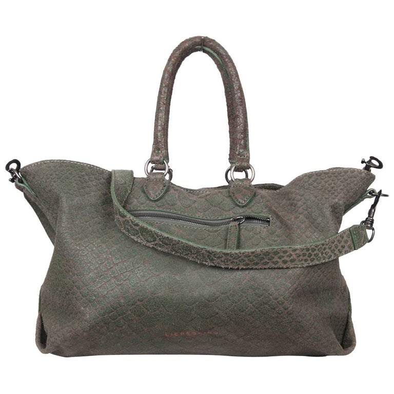 LIEBESKIND BERLIN Green Embossed Snake Leather MAXINE BAG Tote