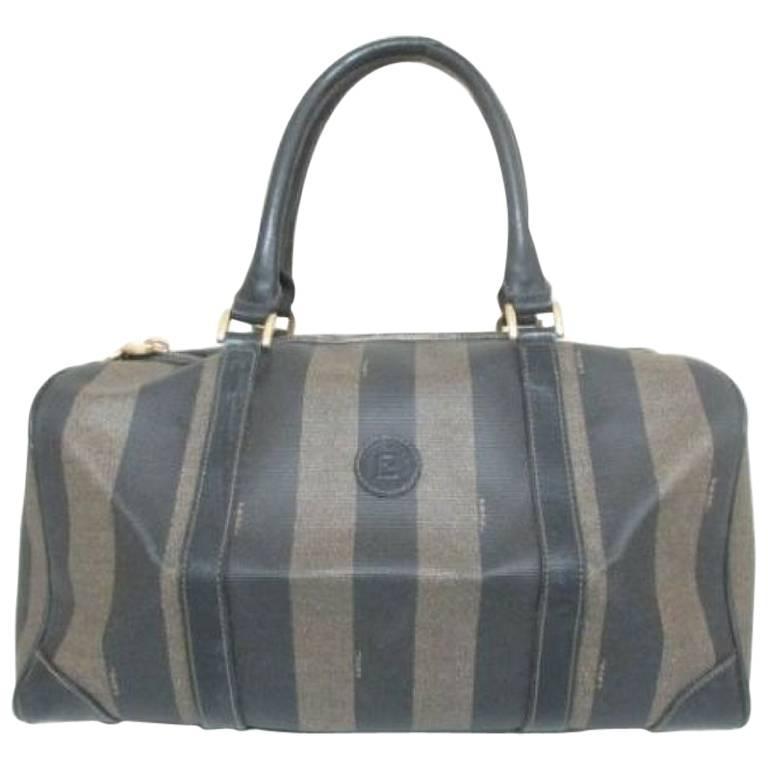 Vintage FENDI gray and black pecan stripe speedy style duffle bag, handbag purse
