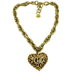 Christian Lacroix Vintage Jewelled Heart Pendant Necklace