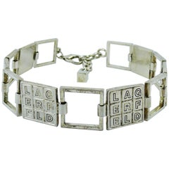 Karl Lagerfeld Vintage Silver Toned Crossword Puzzle Choker Necklace