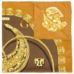 Hermes Les Cavaliers D'or print scarf