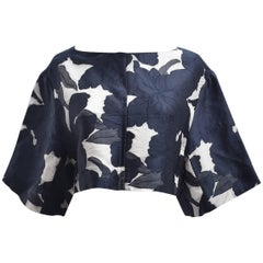 Chloe Cropped Dark Blue and White Jacquard Floral Print Top