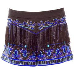 Breathtaking Emilio Pucci Embroidered Sequin Pearls Crystals Hot Pants Shorts