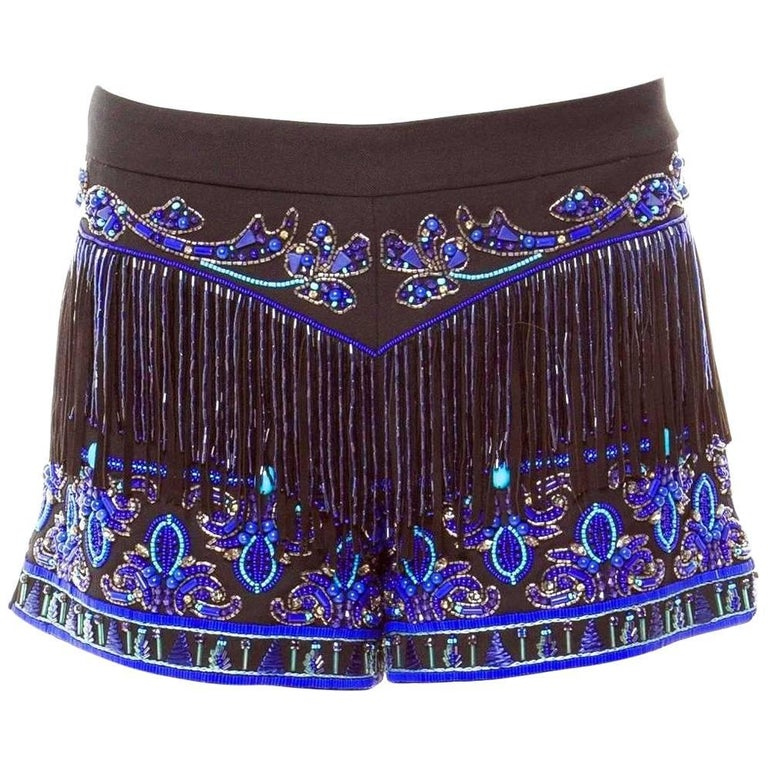 Emilio Pucci Embroidered Sequin Pearls Crystals Hot Pants Shorts