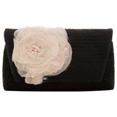 Lanvin White Flower Black Clutch