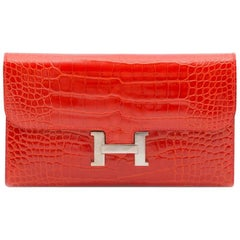 Hermes Red Alligator Constance Wallet
