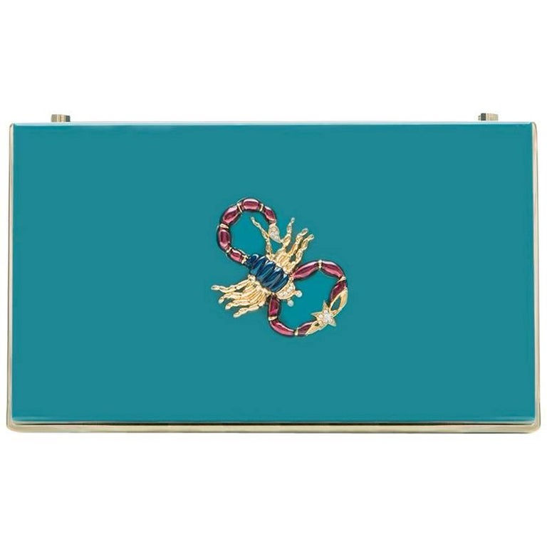 charlotte olympia blue box scorpion clutch for sale at 1stdibs. Black Bedroom Furniture Sets. Home Design Ideas