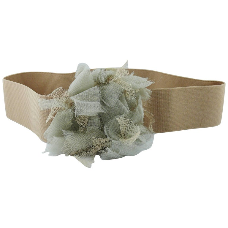 Lanvin Elastic Belt with Tulle Flower Size S