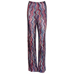 Missoni Signature Zigzag Crochet-Knit Wide Leg Palazzo Pants