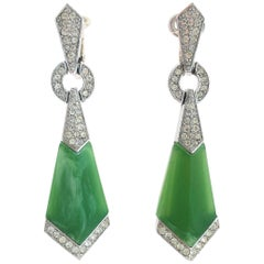 Art Deco style paste drop earrings, Trifari, 1960s