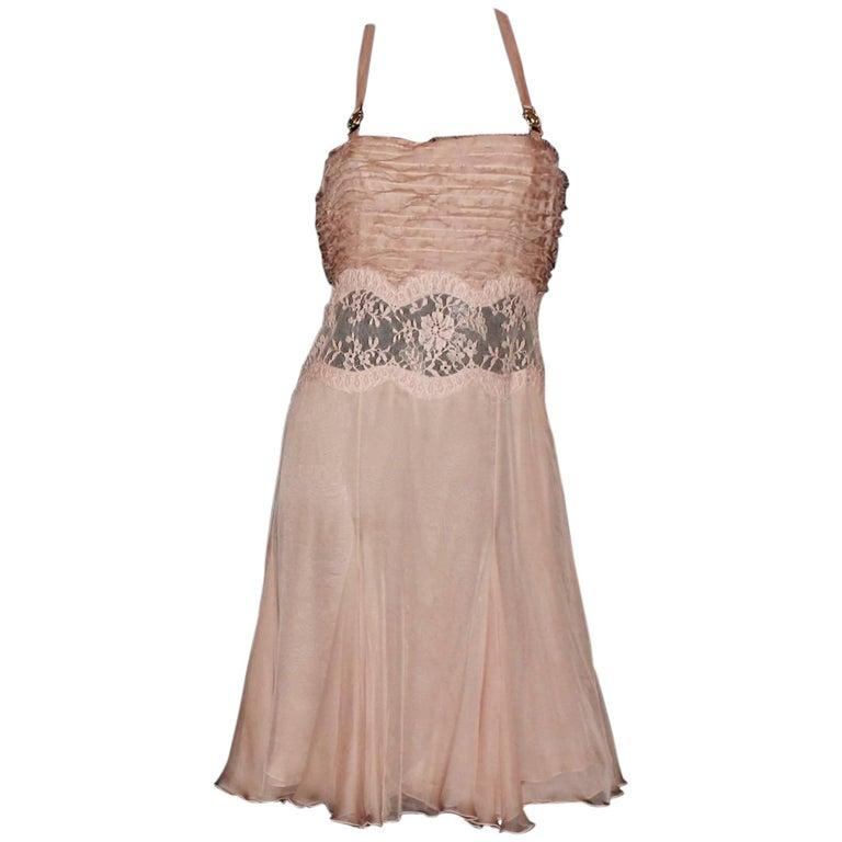 Stunning Versace Blush Medusa Lace Silk Corset Dress For