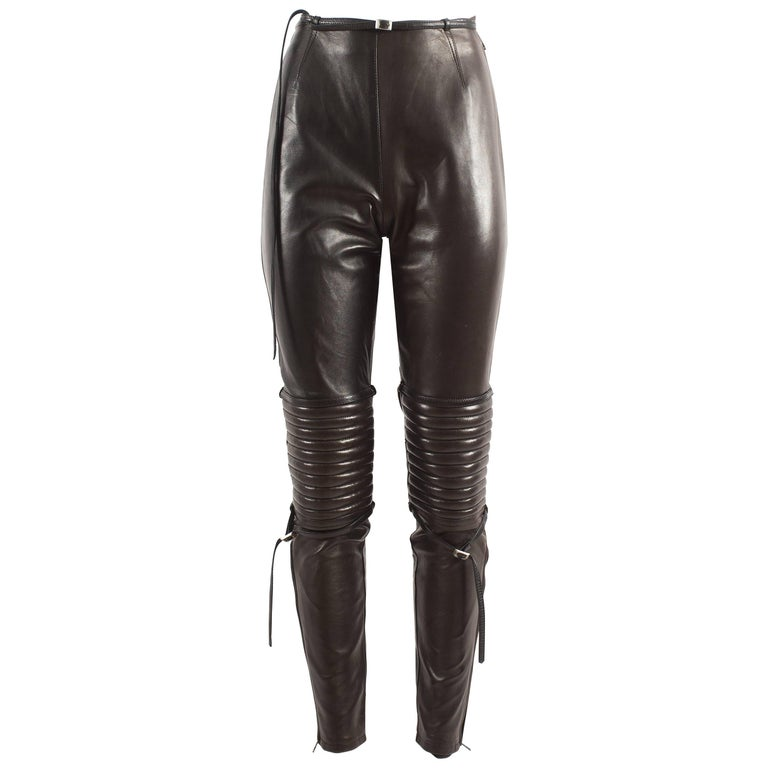 Jean Paul Gaultier Autumn-Winter 1990 black and brown leather biker pants