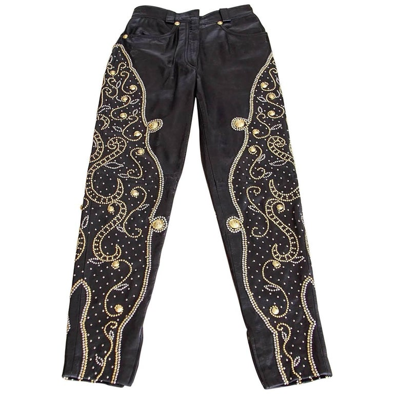 Gianni Versace Pant Iconic Vintage Leather Studded Black For Sale