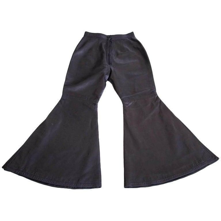 Gianni Versace Atelier Dramatic Vintage Black Leather Pant 40 / 6