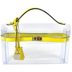 ORIGINAL Mon Autre Sac ® Clutch Crystal Pvc and Yellow leather / Brand New
