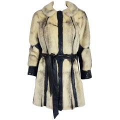 Cross Mink Fur and Leather Coat, Garfinkles 1960s