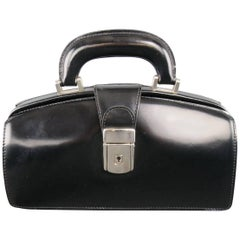 Vintage PRATESI Black Leather Silver Buckle Mini Doctor Handbag
