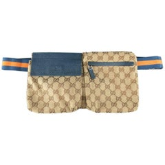 GUCCI Beige Guccissima Monogram Canvas Orange & Navy Strap Fanny Pack Handbag