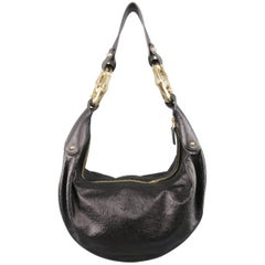 GUCCI Black Monogram Embossed Leather Gold Bamboo Handle Hobo Handbag