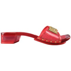 LOUIS VUITTON Size 7.5 Red Patent Epi Leather Clear Heeled Gold Buckle Sandals