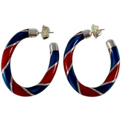 1980s Gucci Red and Blue Enameled Sterling Hoop Earrings