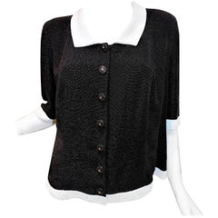 Coco Chanel signature black and white  caviar beaded Haute Couture Jacket