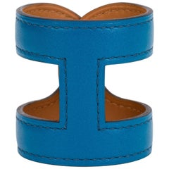Hermes Blue Izmir Leather Stretch Cuff Bracelet