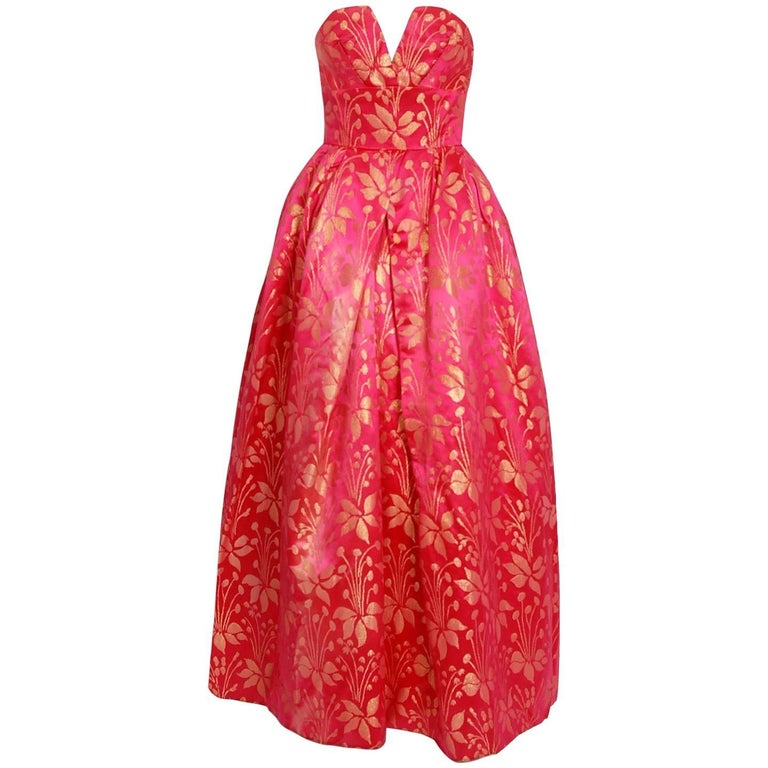1959 Sarmi Couture Metallic Fuchsia Floral Motif Brocade Strapless Evening Gown