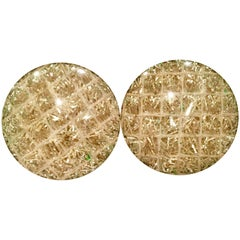 60'S Cased Lucite Metallic Confetti Disc Earrings