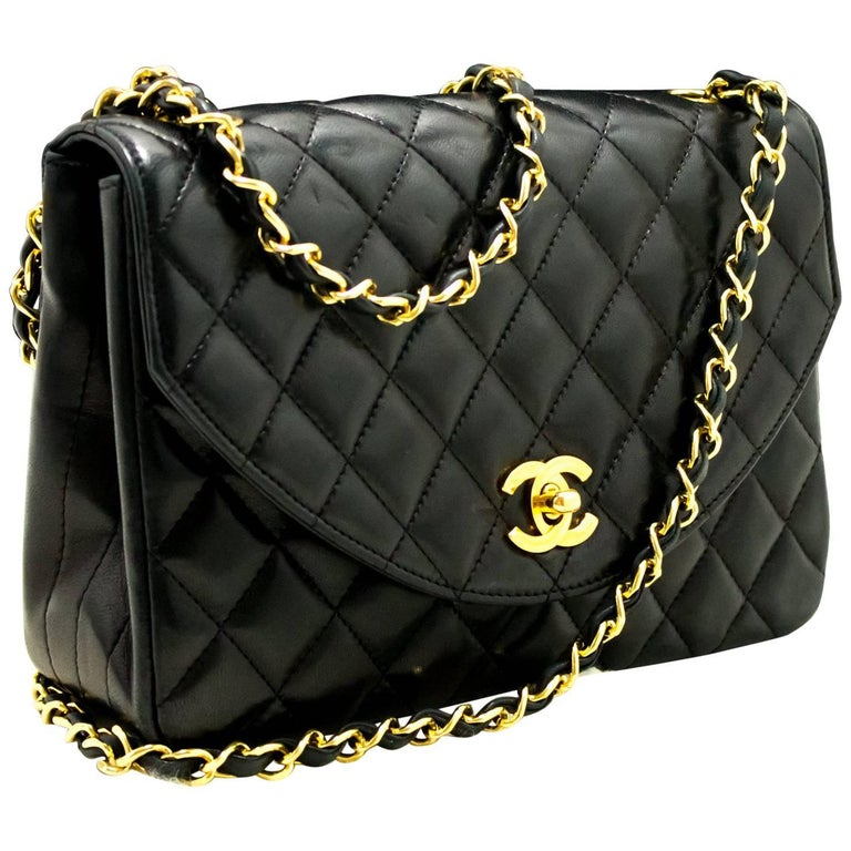 160513709ecfeb CHANEL Half Moon Chain Shoulder Bag Crossbody Black Quilted Flap For Sale
