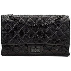 2000s Chanel Black Glazed Calfskin SO Black 2.55 Reissue 227 Double Flap Bag