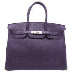 Hermes Birkin 35 Purple / Cassis Fjord Leather SHW Handbag