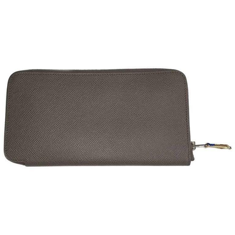 HERMES Long Wallet in Etoupe Color Epsom Calfskin Leather