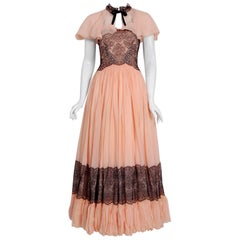 1940's French Couture Pink Silk-Chiffon & Black Lace Scalloped Gown & Capelet