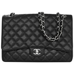 Chanel Black Caviar Leather Quilted Single Flap Maxi Classic Bag with DB