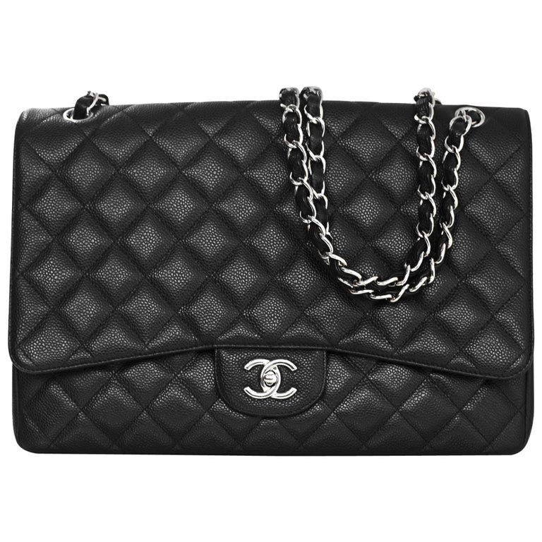 Chanel Black Caviar Leather Quilted Single Flap Maxi Classic Bag with DB For Sale